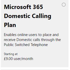 Microsoft 365 Domestic Calling Plan